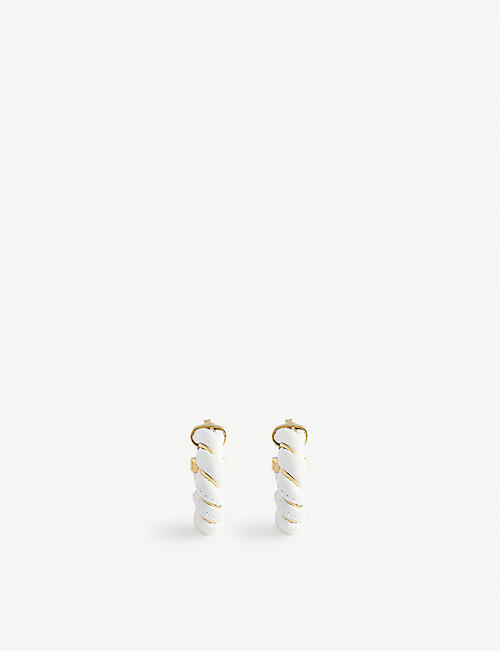 BOTTEGA VENETA: Rope leather and sterling silver earrings