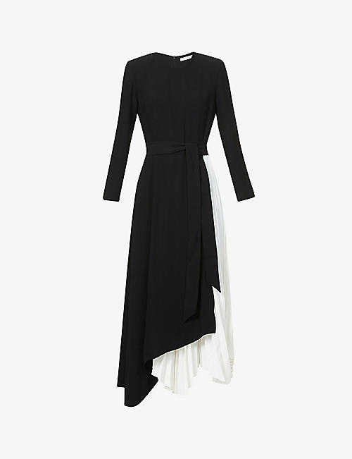 CAMILLA AND MARC: Frey pleated-panel woven midi dress