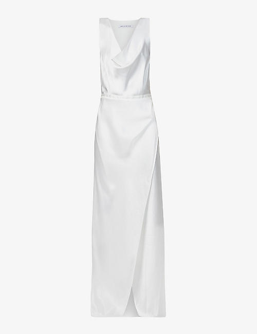 CAMILLA AND MARC: Fiora draped-neckline wrap satin gown