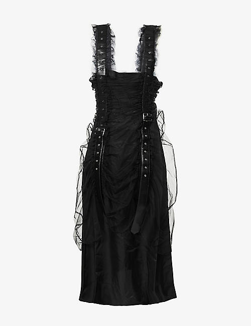 NOIR KEI NINOMIYA: Frilled-trim crepe, tulle and faux-leather midi dress