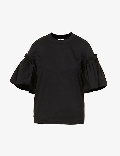 NOIR KEI NINOMIYA: Puffed-sleeve cotton-jersey T-shirt