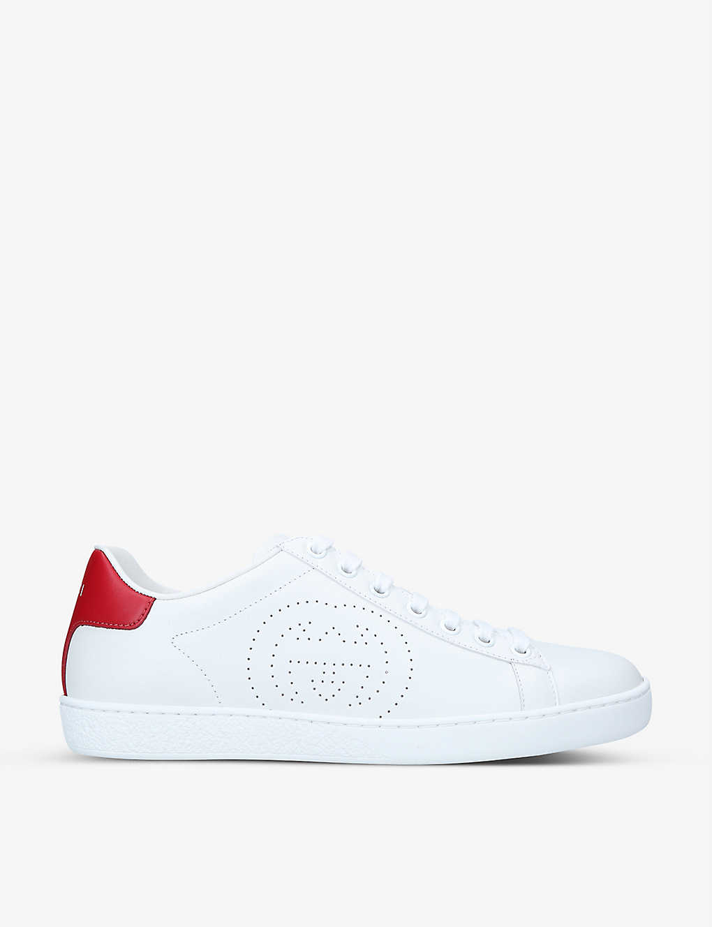 GUCCI: New Ace perforated leather trainers