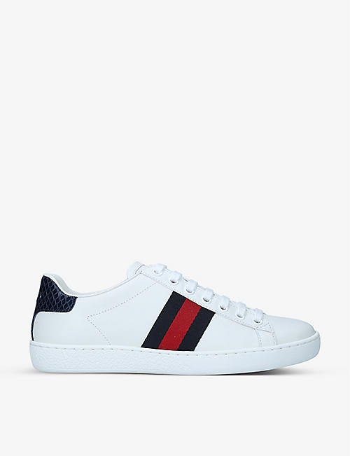 GUCCI: New Ace logo-embroidered leather trainers