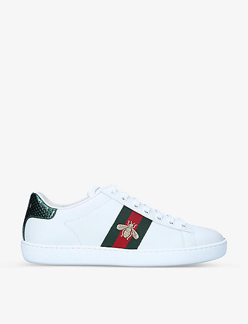 GUCCI: Women's New Ace bee-embroidered leather trainers