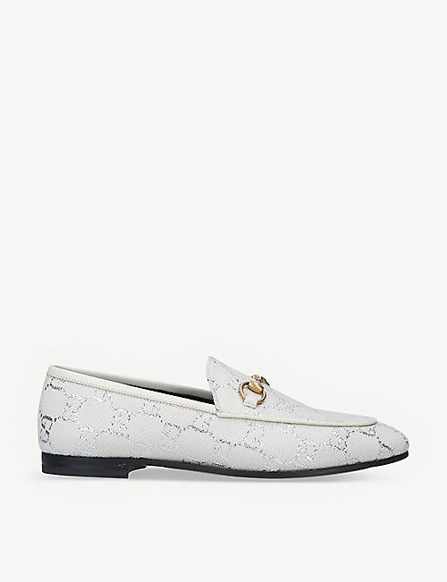 GUCCI: Jordaan GG lamé loafers