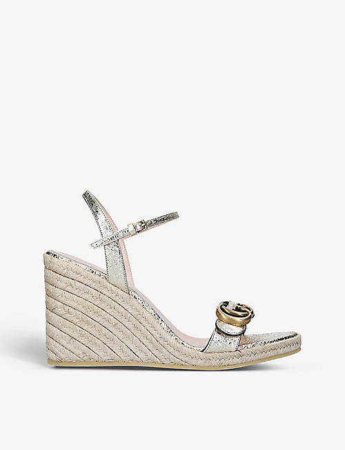GUCCI: Aitana leather espadrille wedges