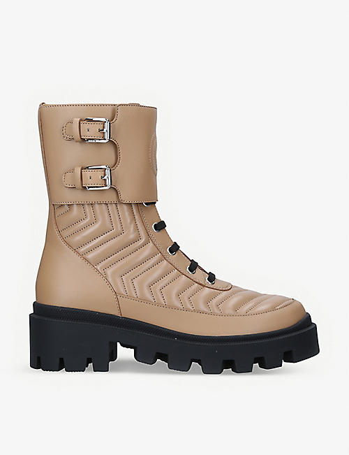 GUCCI: Frances chevron-quilted leather heeled biker boots