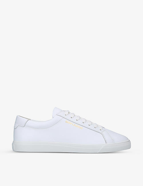 SAINT LAURENT: Andy logo-print leather low-top trainers