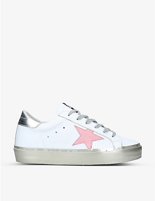 GOLDEN GOOSE: Hi Star embroidered leather trainers