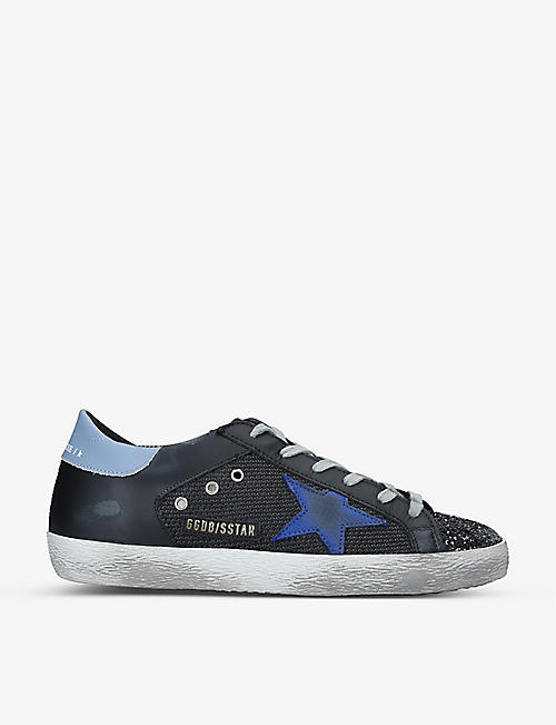 GOLDEN GOOSE: Superstar star-embroidered leather and mesh trainers