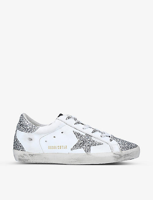 GOLDEN GOOSE: Superstar glitter and distressed leather trainers