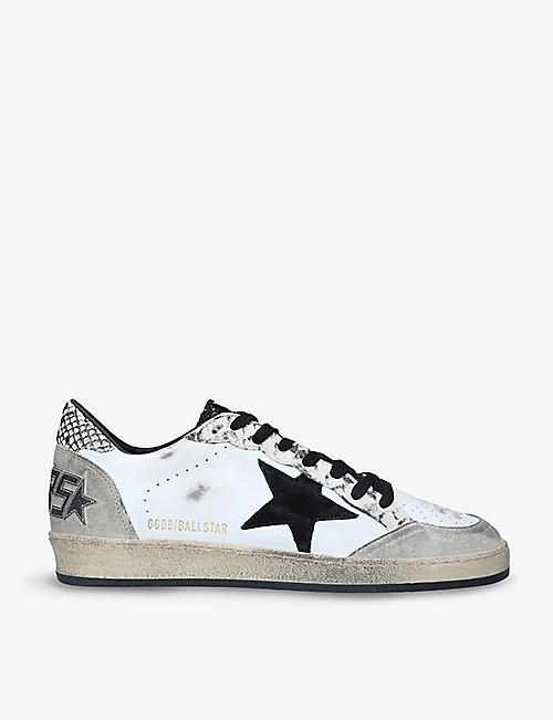 GOLDEN GOOSE: Men's Ballstar python-embossed leather and suede low-top trainers