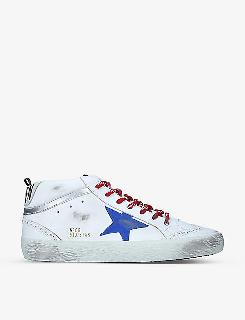 GOLDEN GOOSE: Mid Star distressed leather trainers