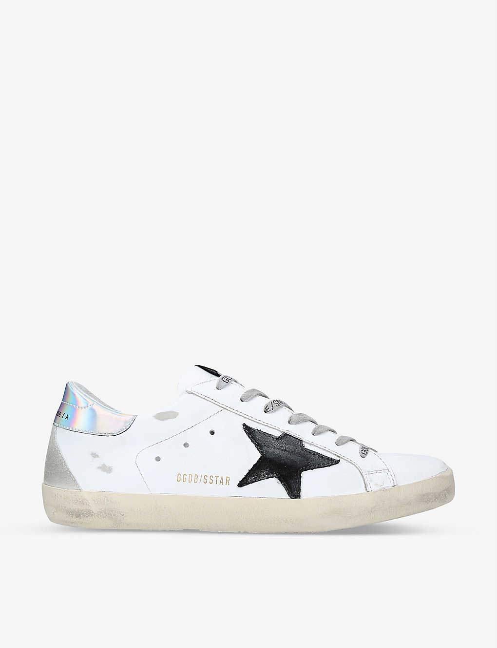 GOLDEN GOOSE: Superstar holographic-trim leather trainers