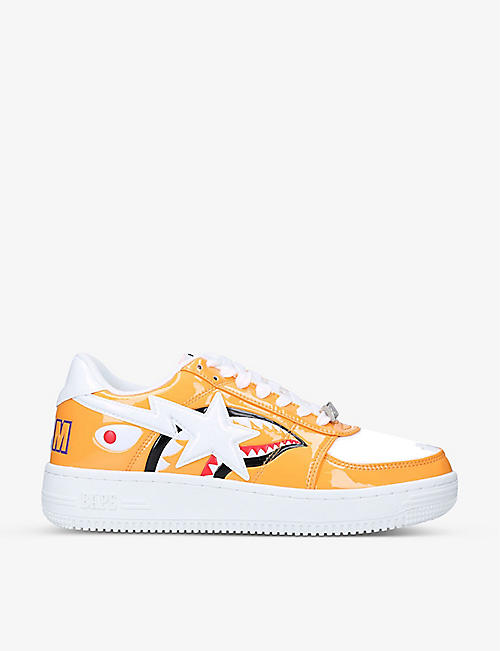 A BATHING APE: Bapesta Shark low-top patent-leather trainers