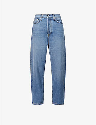 RAG & BONE: 90s tapered mid-rise stretch-denim jeans
