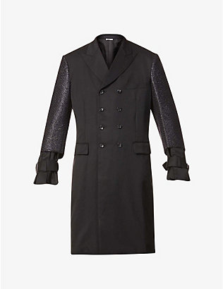 COMME DES GARCONS HOMME PLUS: Double-breasted ruffle-trim wool coat