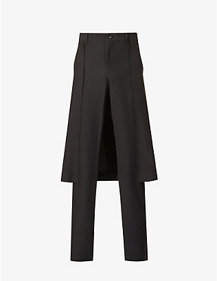 COMME DES GARCONS HOMME PLUS: Skirt overlay regular-fit straight-leg crepe trousers
