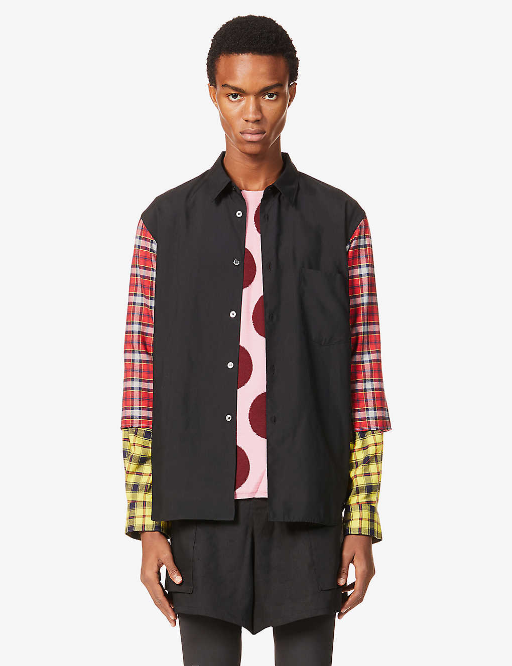 COMME DES GARCONS HOMME PLUS: Patchwork relaxed-fit crepe and cotton-blend shirt