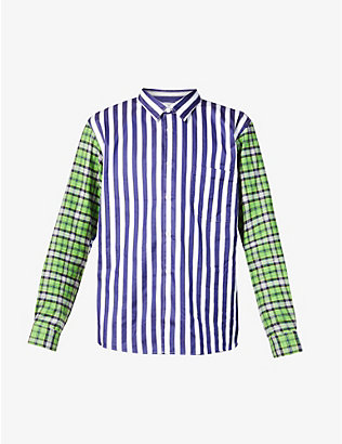 COMME DES GARCONS HOMME PLUS: Striped contrast-panel cotton shirt