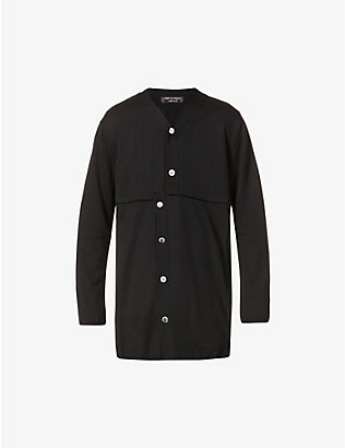 COMME DES GARCONS HOMME PLUS: Asymmetric-fastening relaxed-fit wool cardigan