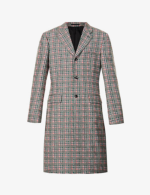 COMME DES GARCONS HOMME PLUS: Checked single-breasted wool overcoat