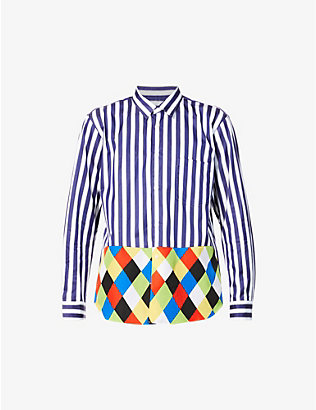 COMME DES GARCONS HOMME PLUS: Striped diamond-panel cotton shirt