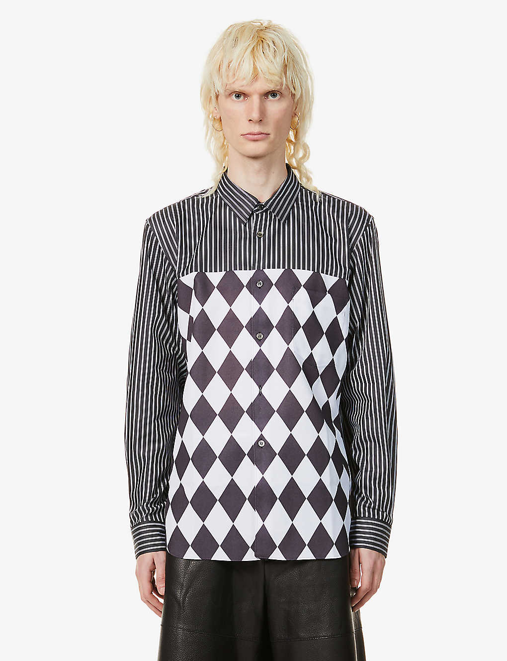 COMME DES GARCONS HOMME PLUS: Diamond-pattern striped cotton-poplin shirt