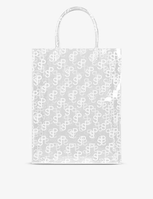 SAKS POTTS: Lap monogram-print PVC top-handle bag