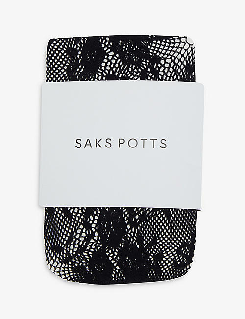 SAKS POTTS: Lucy floral-print fine-net tights
