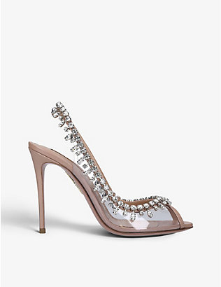 AQUAZZURA: Temptation 105 crystal-embellished leather and PVC slingback sandals