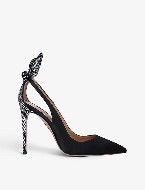 AQUAZZURA: Bow Tie 85 crystal-embellished suede heeled pumps