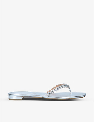 AQUAZZURA: Tequila gem-embossed leather flip flops