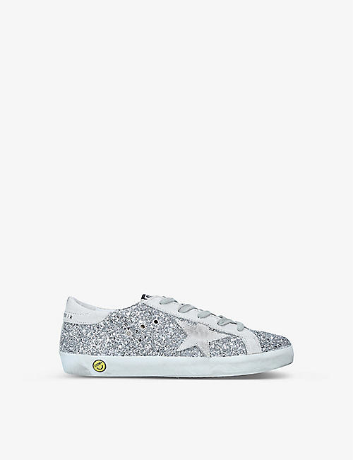 GOLDEN GOOSE: Superstar glitter leather trainers 6-8 years