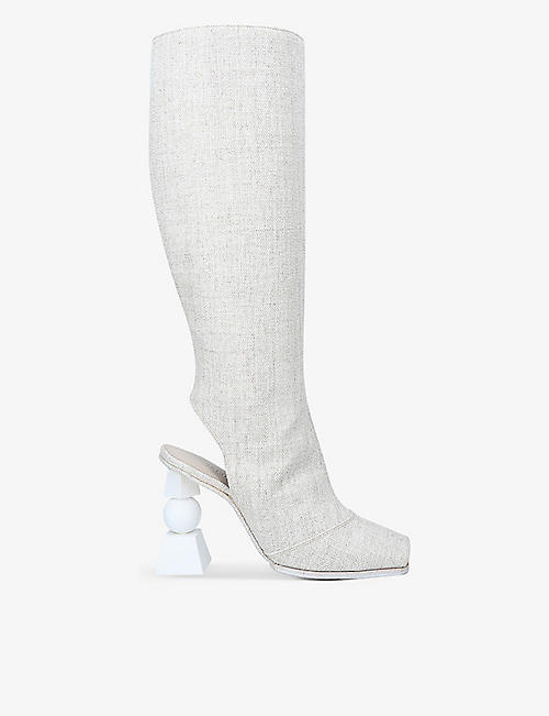JACQUEMUS: Les bottes Olive open-toe woven knee-high boots