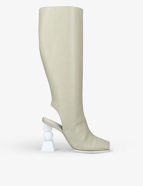 JACQUEMUS: Les Bottes Olive leather knee-high boots