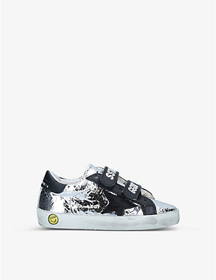 GOLDEN GOOSE: Old School metallic leather trainers 1-5 years