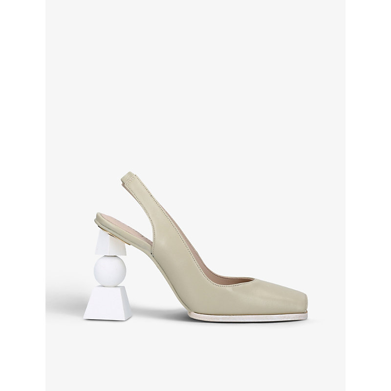 Jacquemus LES CHAUSSURES VALERIE GEOMETRIC-HEEL LEATHER SLINGBACK COURTS