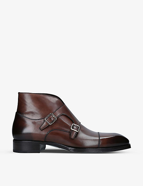 TOM FORD: Elkan monk-strap leather shoes