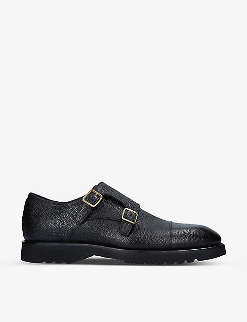 TOM FORD: Kensington pebbled-leather monk strap shoes