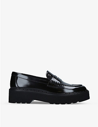 TODS: Carrarmato patent leather platform penny loafers
