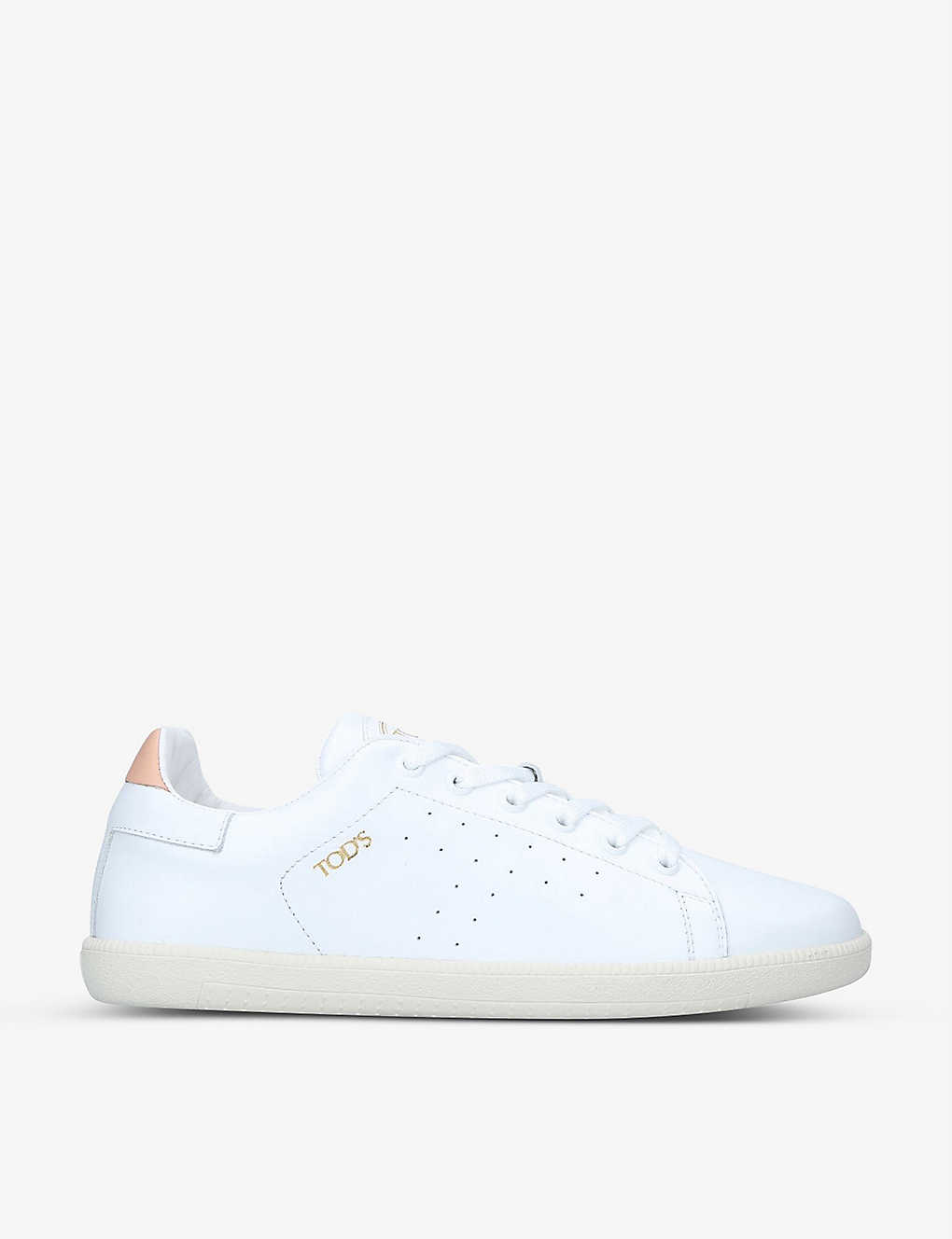 TODS: Contrast-trim leather trainers