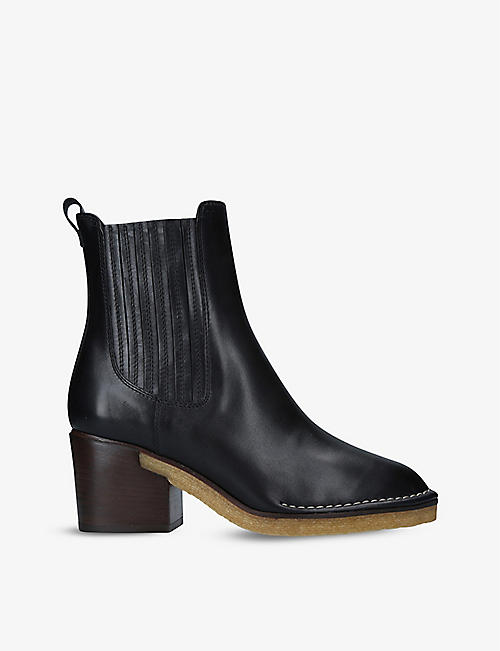 TODS: Contrast-stitching leather heeled Chelsea boots