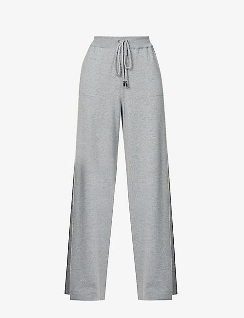 JOHNSTONS: Marla relaxed wide-leg mid-rise wool jogging bottoms