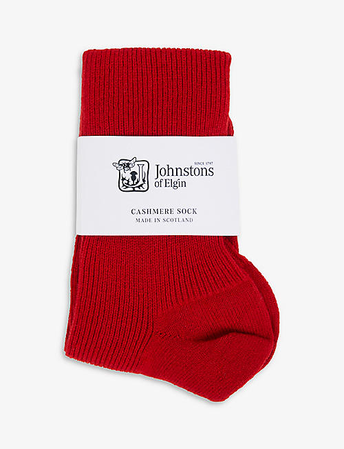 JOHNSTONS: Ribbed cashmere-blend ankle socks