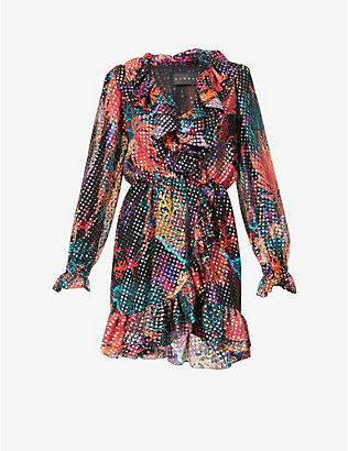 DUNDAS: Metallic printed silk-blend mini dress