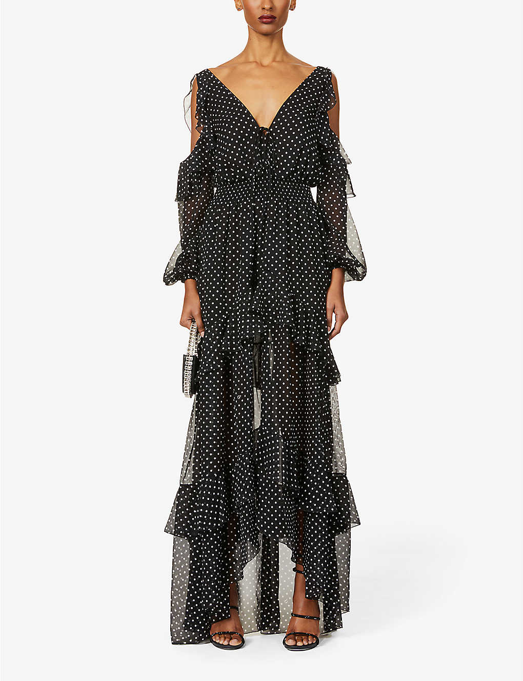 DUNDAS: Polka-dot frilled silk-crepe maxi dress