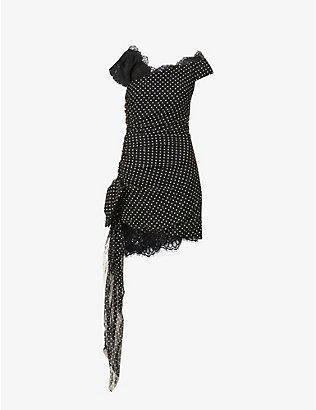 DUNDAS: Polka dot silk-blend mini dress