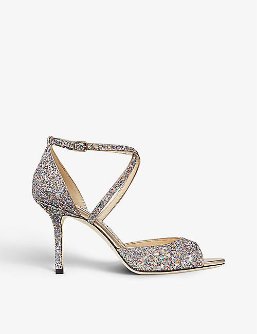 JIMMY CHOO: Emsy 85 peep-toe glitter heeled sandals
