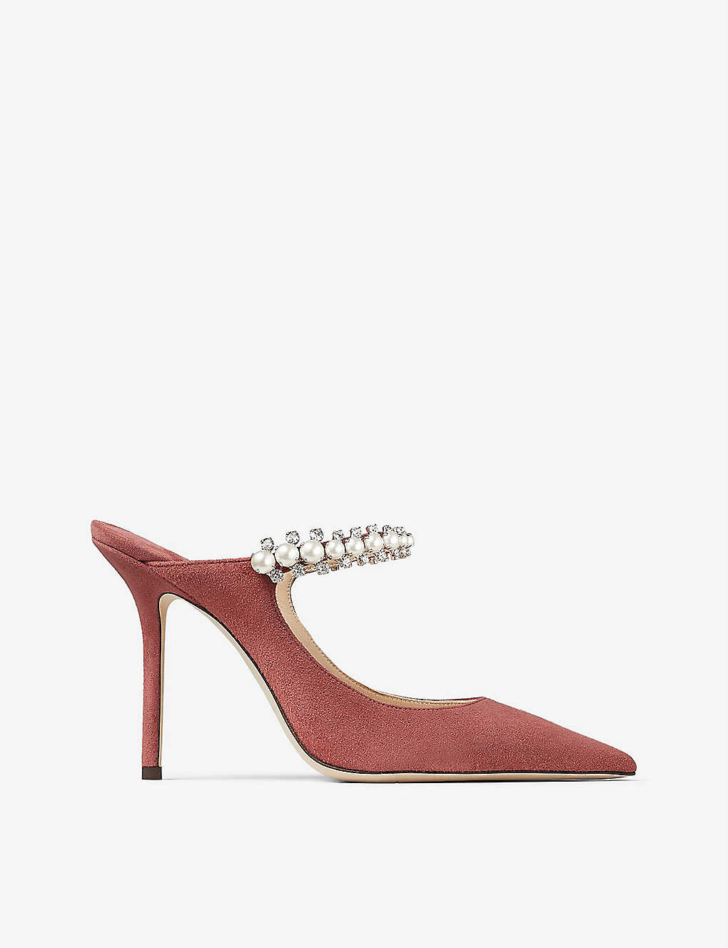 JIMMY CHOO: Bing 100 crystal and pearl-embellished suede heeled mules